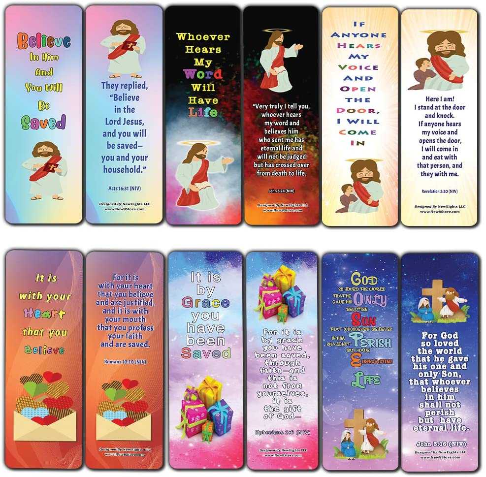 Salvation Gospel Bible Verses Bookmarks for Kids (60-Pack) - Perfect Giveaways for Sunday School, VBS and Children's Ministry