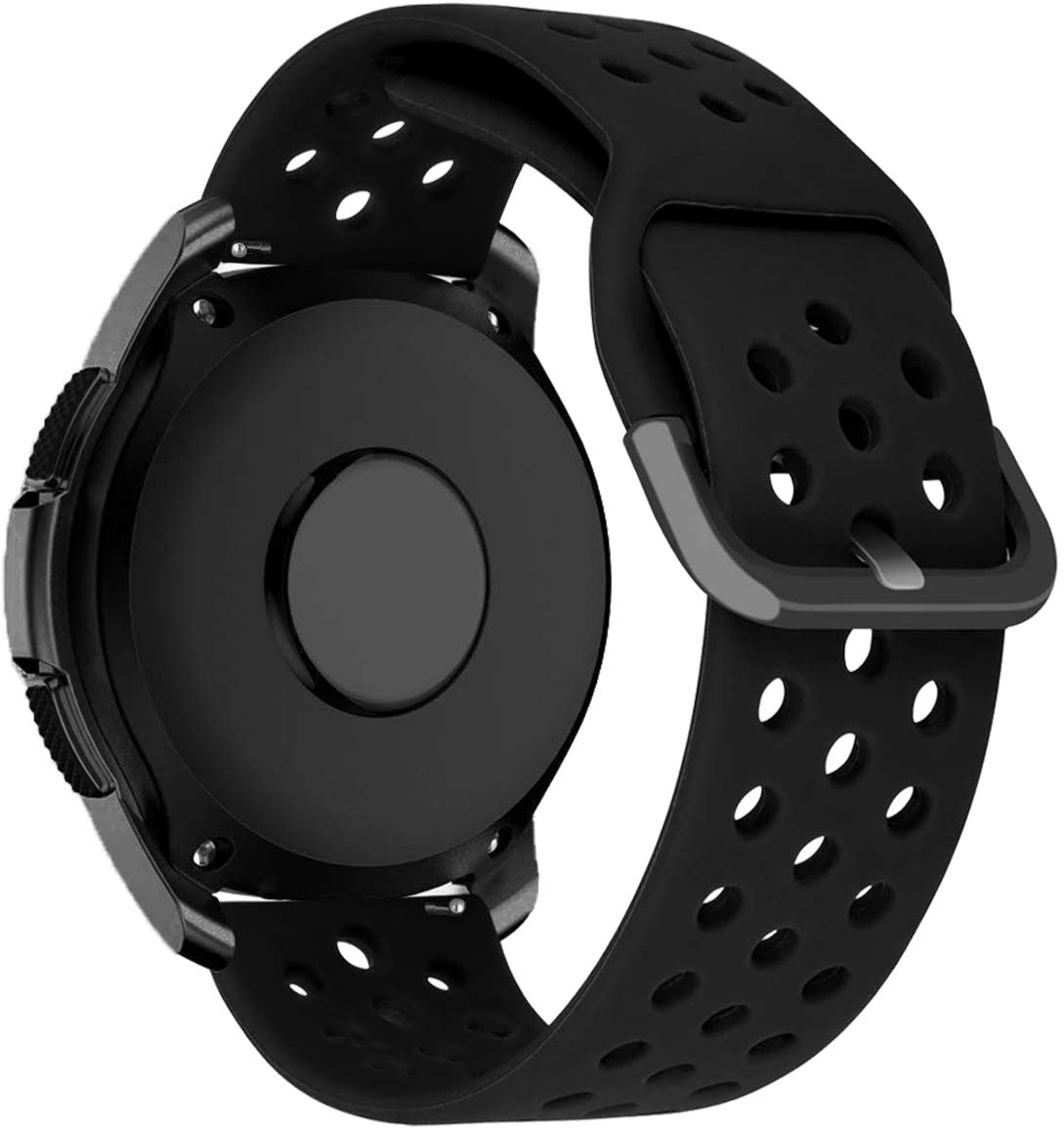iBazal Galaxy Watch Active2 Band 40mm 44mm Silicone 20mm Compatible with Samsung Galaxy Watch 42mm,Active 40mm,Gear S2 Classic,Gear Sport Wrist Strap Replacement Sport Wristband Bracelet - Black