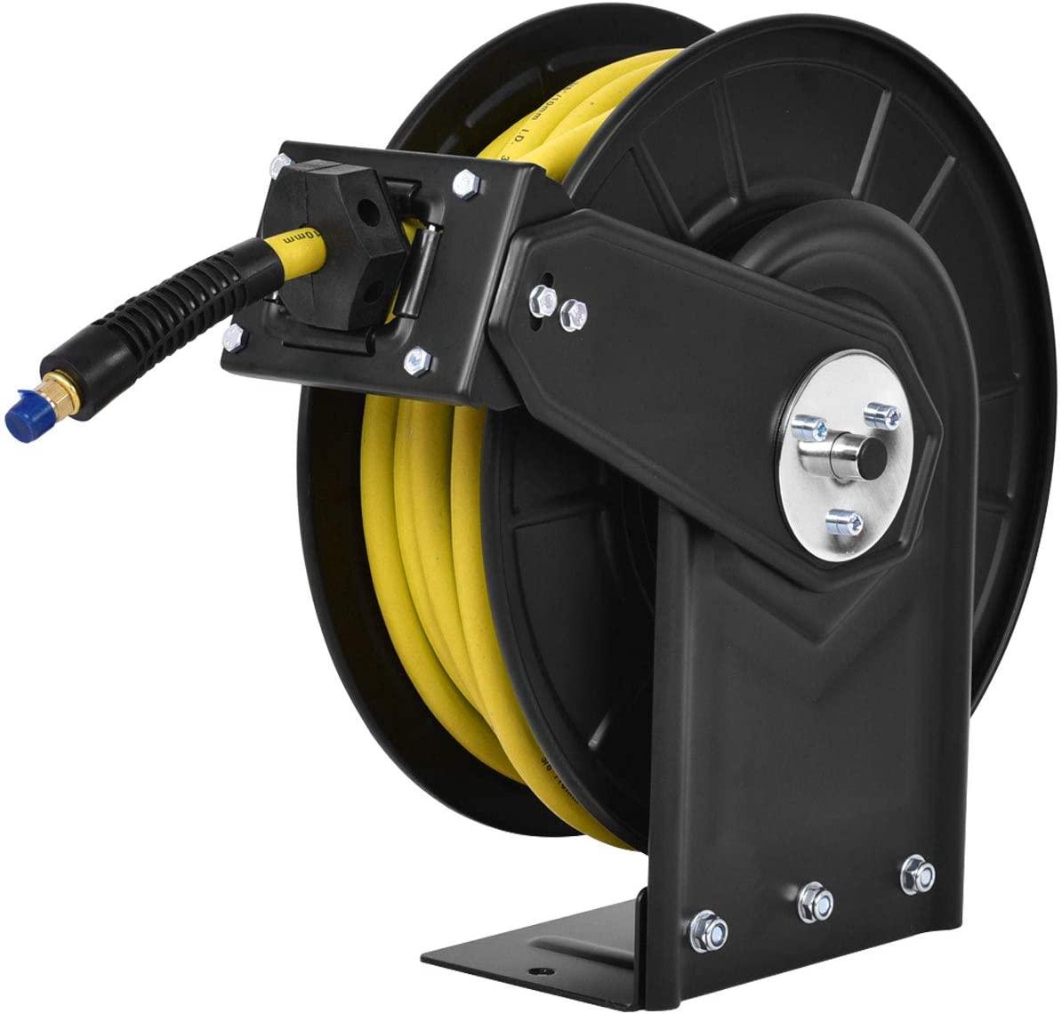 Goplus Air Hose Reel, Steel Compressor Hose Auto Rewind with Retractable 3/8