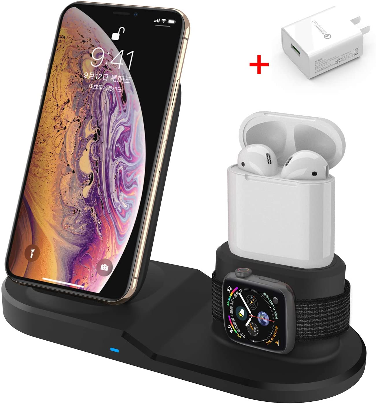Wireless Charger, 3 in 1 Wireless Charging Stand for Apple Watch iPhone Airpods, Wireless Charging Station Phone Charging Stand for iPhone X/XS/XR/Xs Max/8/8 Plus Apple Watch 5 4 3 2 1 Airpods 1 2