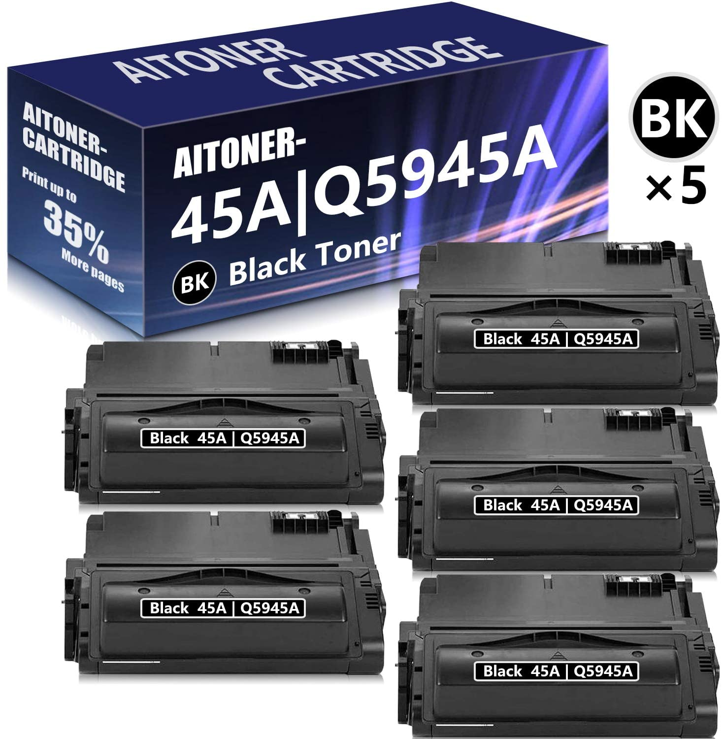 5 Pack Black Compatible for HP 45A | Q5945A Toner Cartridge Replacement for HP Laserjet 4350N 4350TN 4350DTN 4345MFP 4200 4200N 4300 4300N 4300TN 4300DTN 4240 4250 4250N 4350 Printer Toner Cartridge.