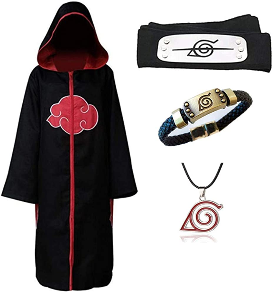 Duess Cosplay Costume Japanese Anime Naruto Cloak Uniform Cape Clothes Robe with Headband Necklace Bracelet