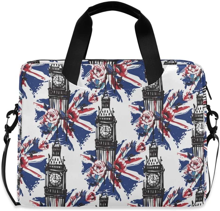 MAHU Laptop Case Bag Vintage London Big Ben UK Flag Laptop Sleeves Briefcase 13 14 15.6 inch Computer Messenger Bag with Handle Strap for Women Men Boys Girls