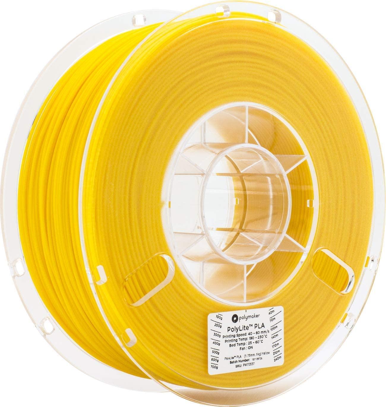 Polymaker PolyLite PLA 3D Printer Filament, 3D Printing Filament, 1.75mm pla - 1Kg Spool (2.2 lbs) Yellow, fit Most FDM Printer…