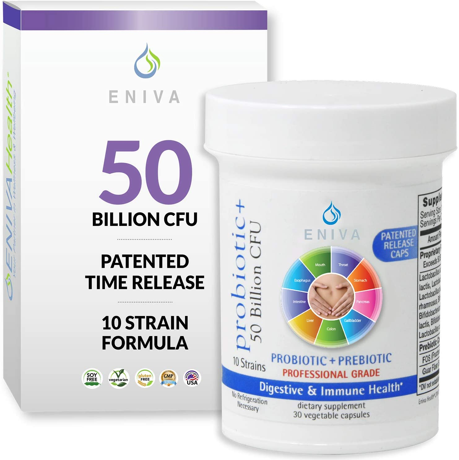 Probiotic with Prebiotic 10 Strains 50 Million CFUs Per Capsule 30 Capsules Per Bottle Doctor Formulated Patented Release Capsules No fillers