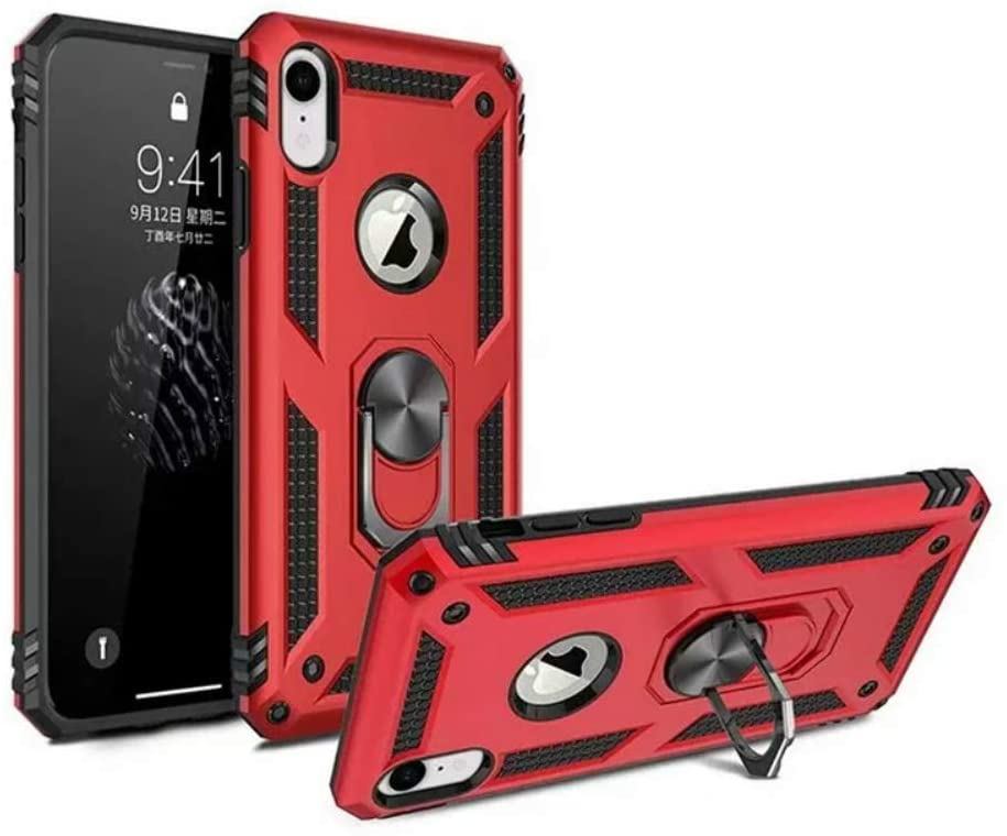 RedLin Anti Shock Case for iPhone 7 Plus,iPhone 8 Plus,360-Degree Swivel Ring Stand,Car Magnetic Adsorption,Heavy Duty Shockproof Hard PC Back Cover Compatible with Apple iPhone 7/8 Plus(Red)
