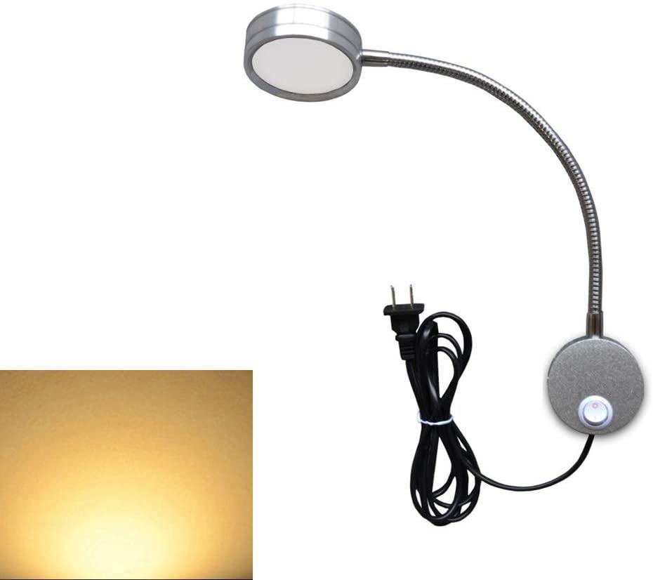 Yanglee US Plug Reading Lamp, Flexible Bedside LED Reading Light 5W, Gooseneck Wall Lamp Light for Bedroom Office Hotel, 3000K (Silver-Warm White)