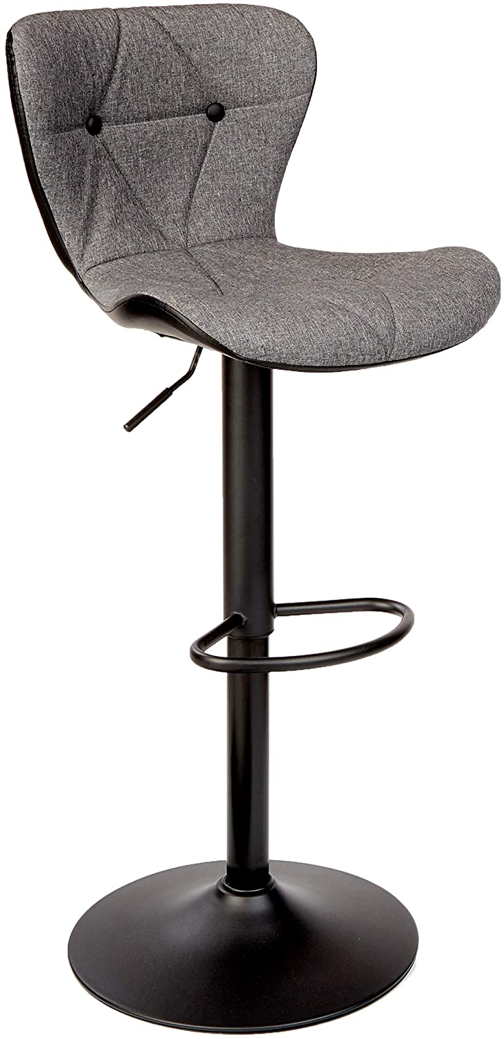 Adjustable Height Bar Stool Seat Modern Airlift Swivel Barstool Mid-Back Padded Chair for High Ergonomic Seating; Heavy Duty Contemporary Metal Base for Countertop Dining; Gray and Black 1 Piece