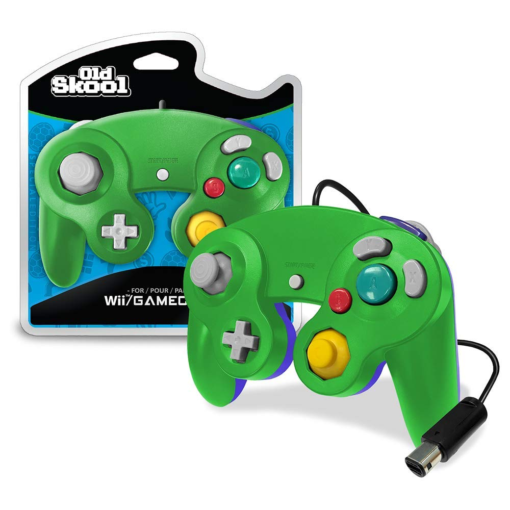 Old Skool GameCube / Wii Compatible Controller - Green/Blue Special Edition