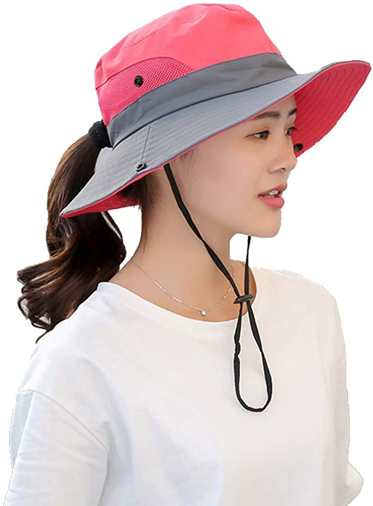 Womens UV Protection Wide Brim Sun Hats - Cooling Mesh Ponytail Hole Cap Foldable Travel Outdoor Fishing Hat