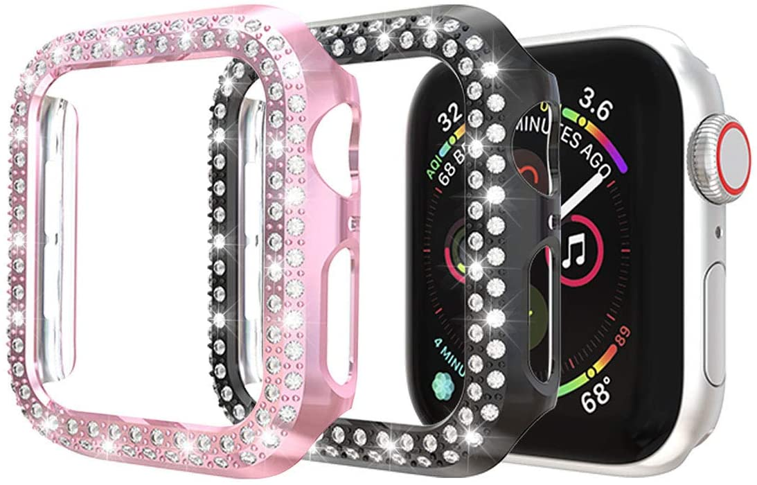 [2-Pack] Protector Case Compatible with Apple Watch Series 5 Series 4 44mm Cover, Double Row Bling Crystal Diamonds Protective Cover PC Plated Bumper Frame Accessories (Black+Pink, 44mm)