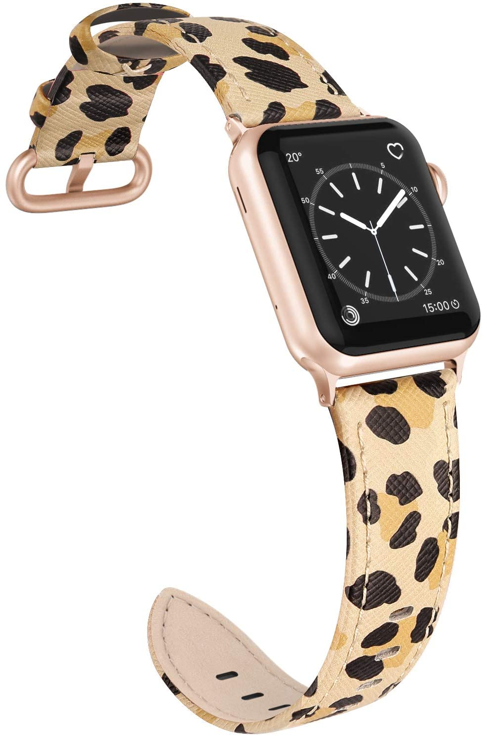 SWEES Leather Band Compatible for iWatch 38mm 40mm, Slim Thin Dressy Elegant Genuine Leather Strap Compatible iWatch Series 5/4/3/2/1 Sport Edition Women, Leopard Print