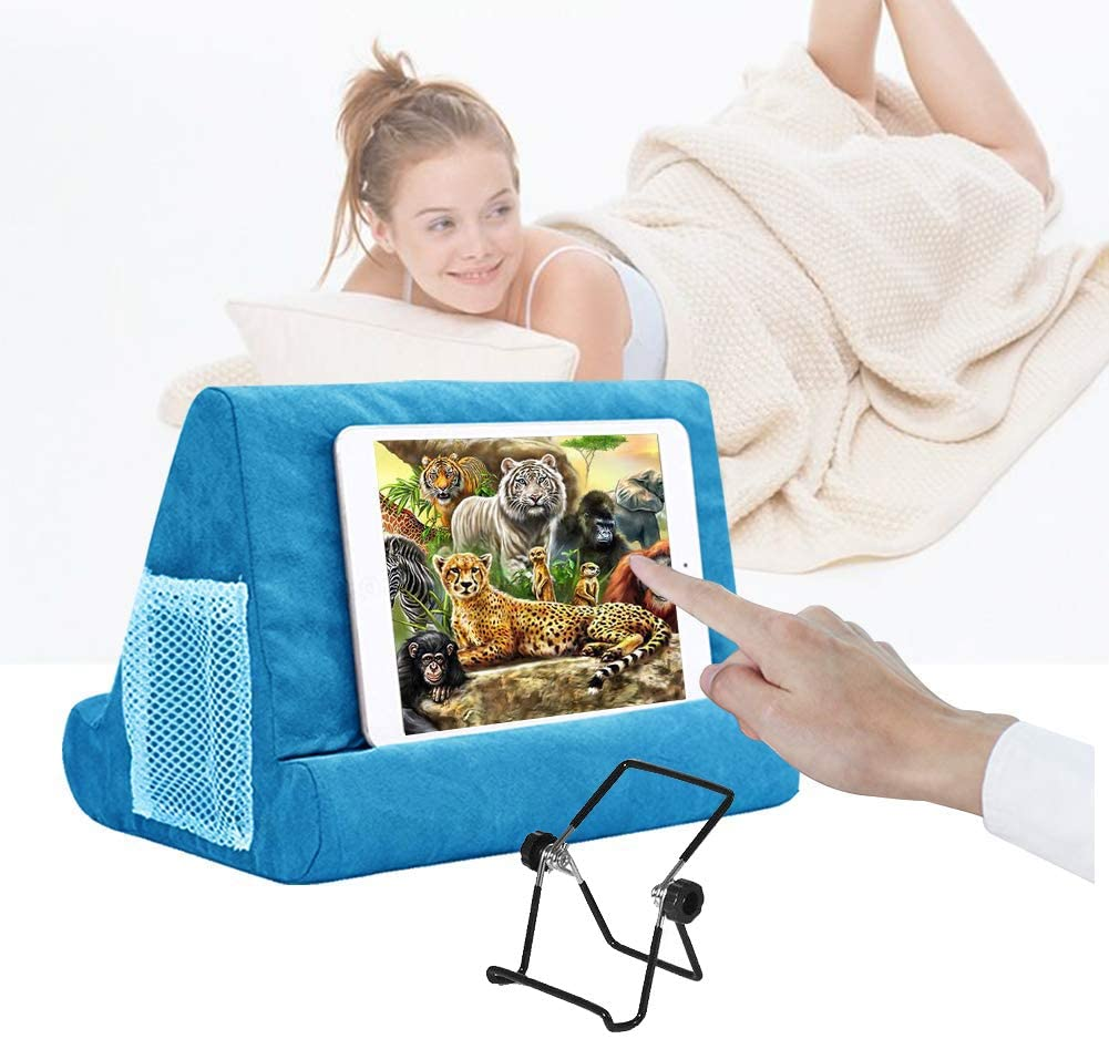 Multi-Angle Soft Pillow for iPads, Tablet Pillow Lap Stand for iPad,eReaders, Smartphones, Books, Magazines Tablet Stand Pillow Holder Light Blue