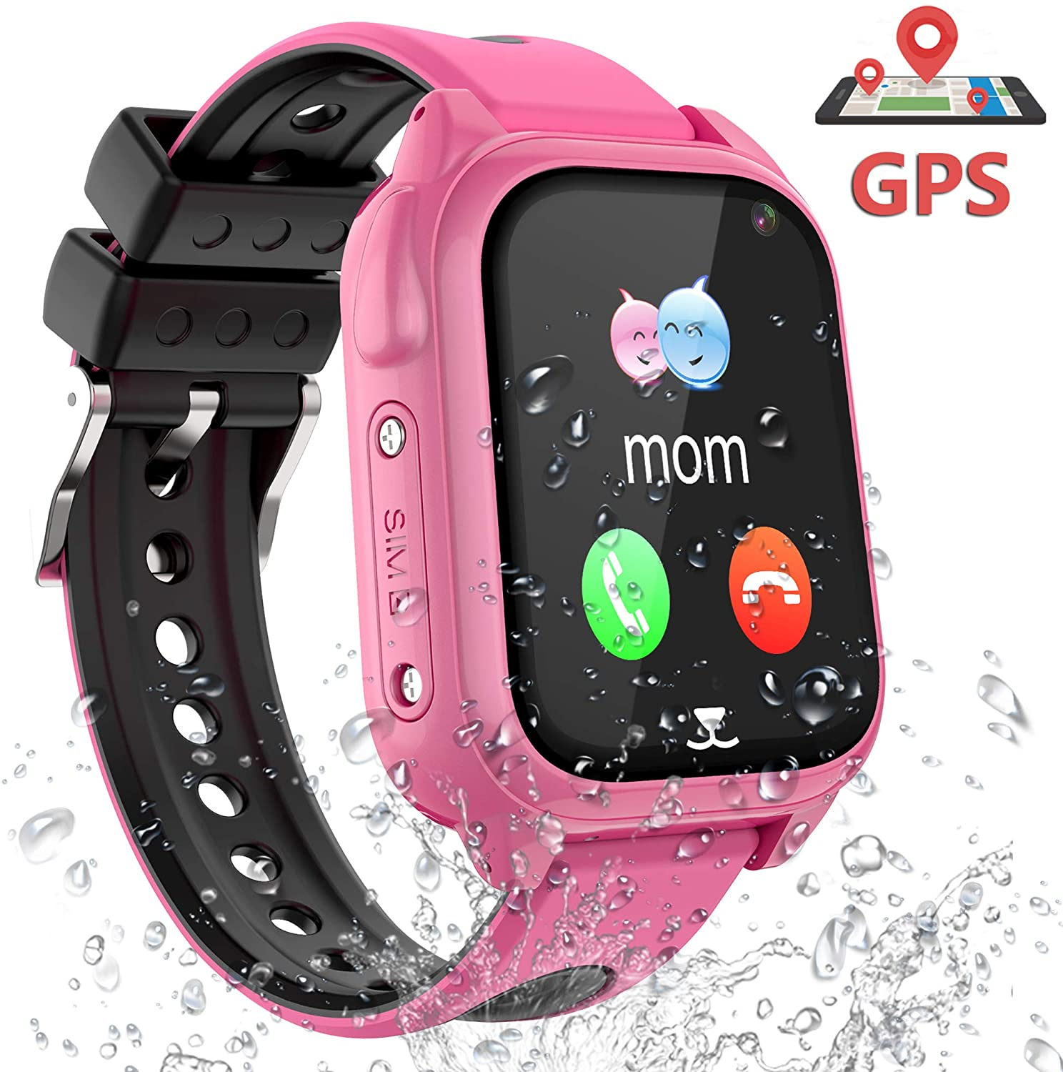 Smart Watch for Kids GPS LBS Tracker Phone, IP67 Waterproof Smartwatch Phone SOS Alarm Clock Camera Touch Screen Voice Chat Games Sports Smartwatch for 3-12 Year Old Boys Girls Birthday Gift (S8 Pink)