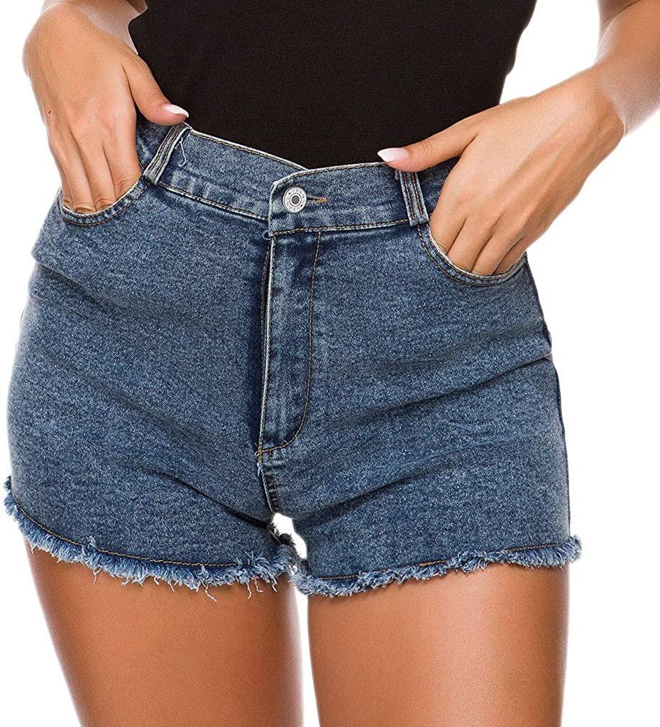 MINGE Womens Short Jeans Mini Pants High Waist Denim Shorts Hole Beach Bottom