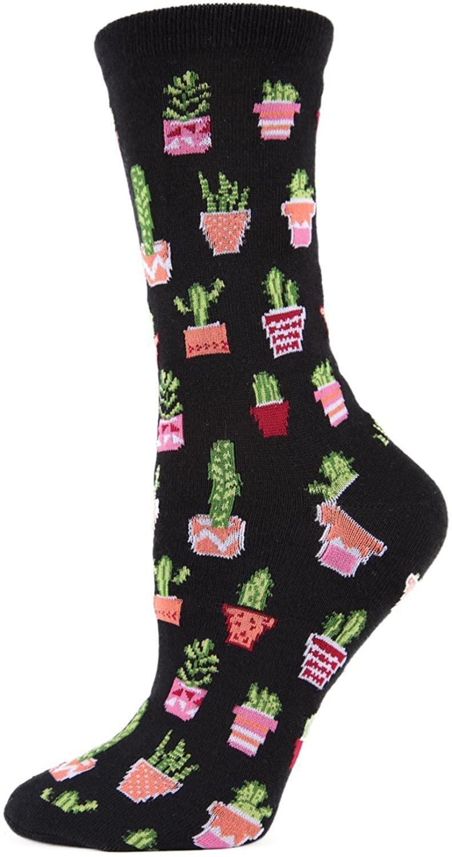 MeMoi Potted Cacti Bamboo Crew Socks | Womens Fun Novelty Socks