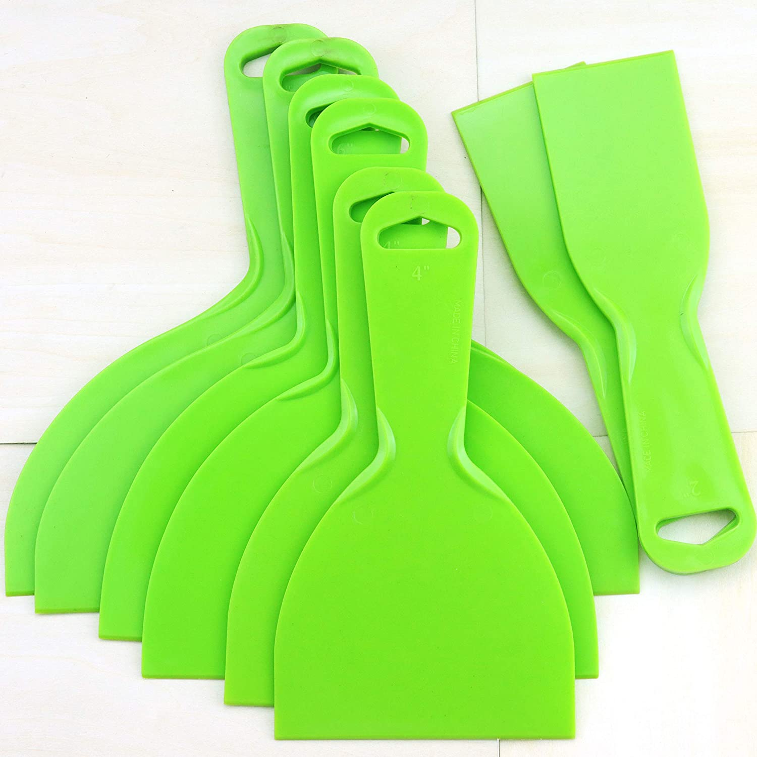 YG_Oline 8 Pack Plastic Putty Scrapers Set, Green Wallpaper Scraper Tools for Decals, Baking, Auto Film, 2 inch, 4 inch, 6 inch, 8 inch