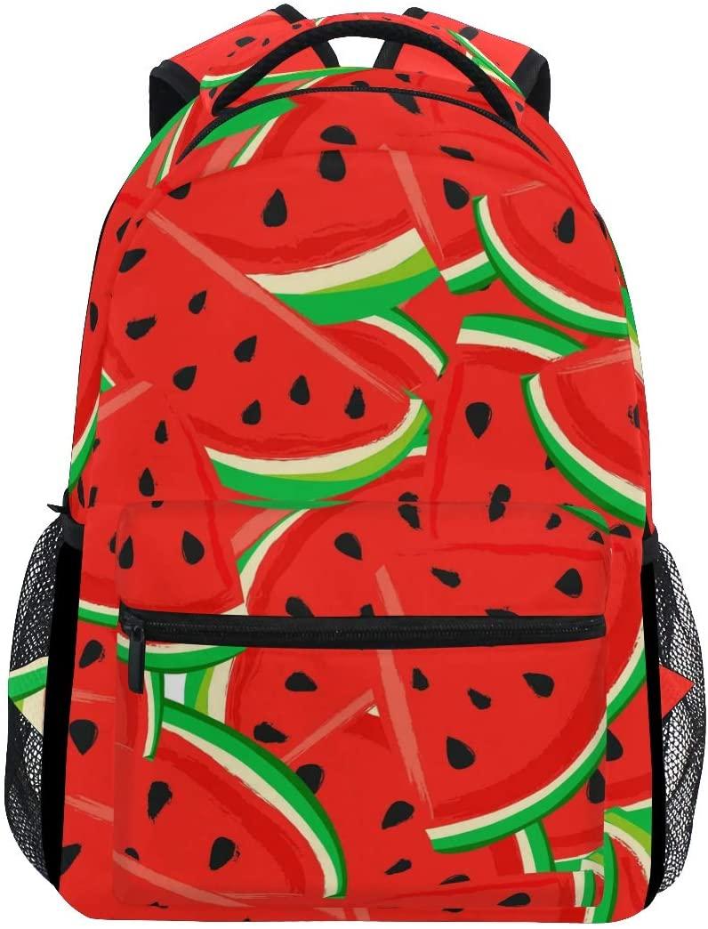 JOYPRINT Backpack Watermelon Fruit Pattern Red Shoulder Bag Daypack Travel Hiking for Boys Girls Men Women