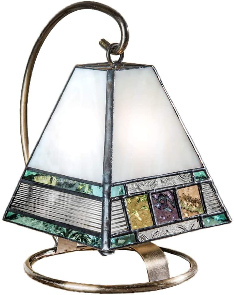 Small Lamp Tiffany Style Stained Glass Decorative Accent Night Light Table Top Mission Home Décor Bedroom, Bathroom, Nursery Multi Colored Blue Green Peach Purple J Devlin Lam 695
