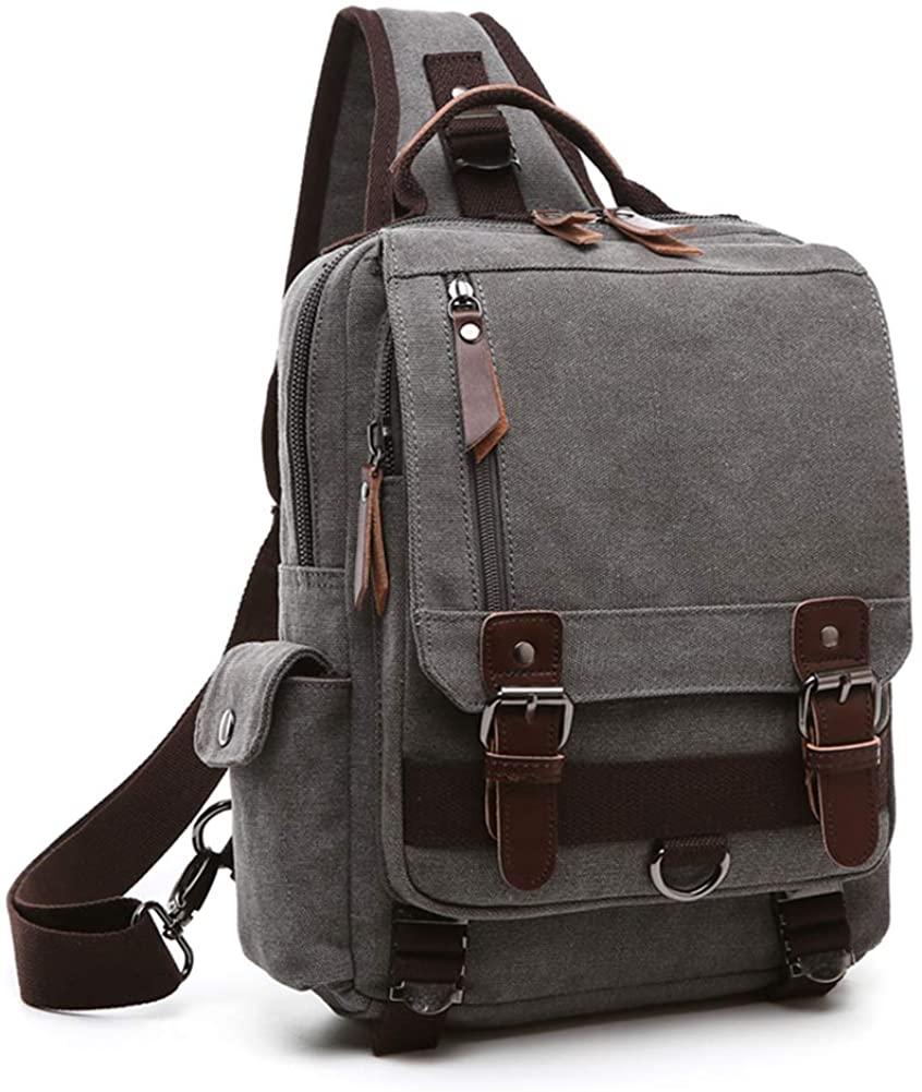 Retro Messenger Bag Canvas Shoulder Backpack One Straps Travel Rucksack Sling Bag Carrying Cases