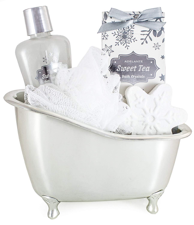 BRUBAKER 5 Pcs Spa Gift Set - Beauty Set With Silver Bathtub, Bath Fizzer, Shower Gel, Bath Crystals, Sponge
