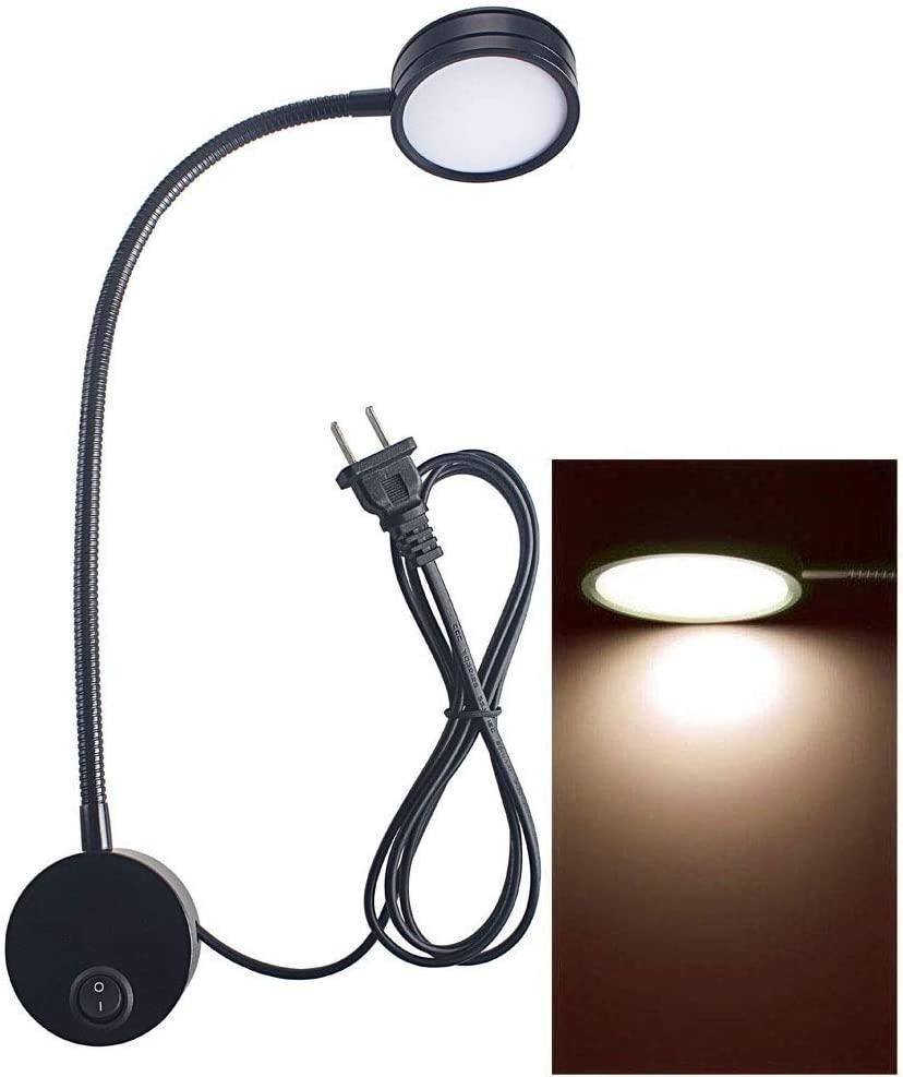 Wall Mounted Reading Light Lamp Flexible Gooseneck Bedside Reading Light for Headboard Reading Workbench Studio 5 Watts