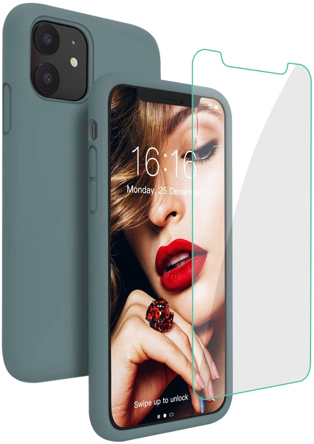 JASBON Case for iPhone 11, Silicone Shockproof with [Tempered Screen Protector], Gel Rubber Full Body Protection Drop Protection 6.1 inch Cover for iPhone 11 2019-Midnight Green