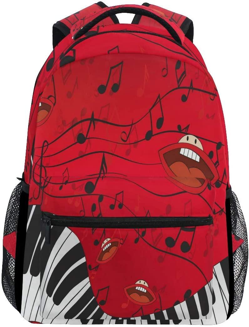 WXLIFE Red Lips Piano Music Note Backpack Travel School Shoulder Bag for Kids Boys Girls Women Men