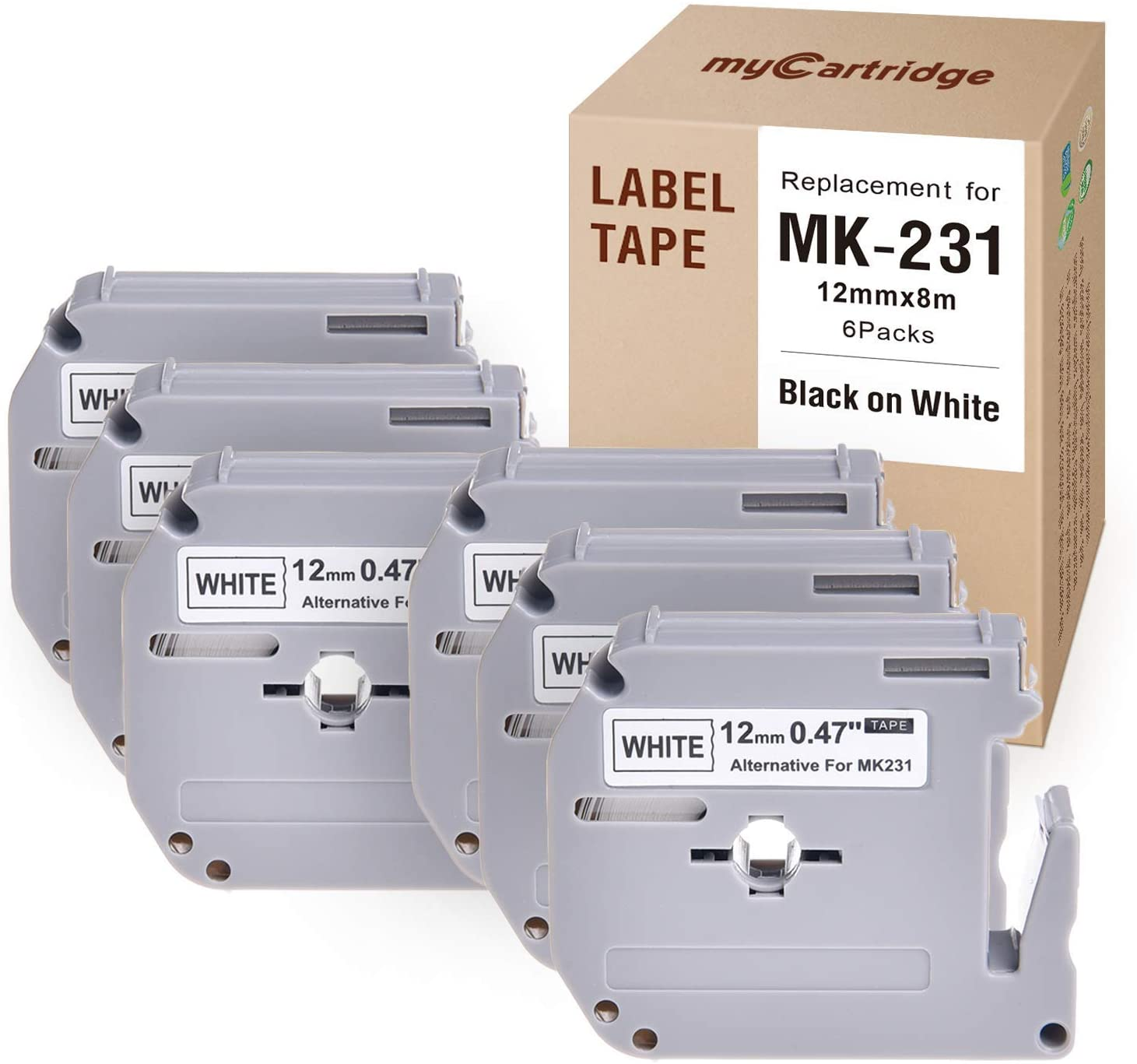 MYCARTRIDGE M231 Compatible with Brother M Tape P-Touch MK231 M-K231 Label Tape 12mm Black on White (6-Pack) for Brother P-Touch PT-90 PT-M95 PTM95M PT-70SR PT-80 Label Maker, 0.47 in x 26.2 ft