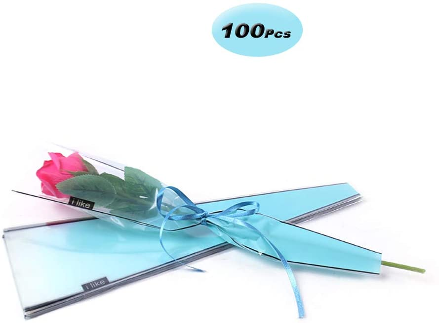 Flower Wrapping Plastic Single Rose Packaging Bag, Pack of 100,Blue