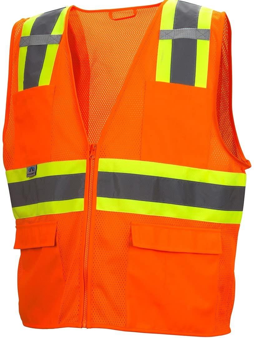 Pyramex Hi-Viz All Mesh Safety Vest with Contrasting Reflective Tape, Orange, 5XL