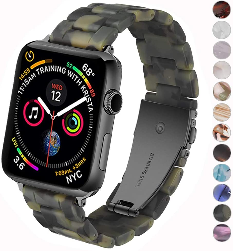 Miimall Compatible with Apple Watch Resin Band 38mm 40mm Women Men Stainless Steel Clasp Strap Bracelet for Apple Watch Series 5 Series 4 Series 3 Series 2 Series 1 (Matte Army Green)