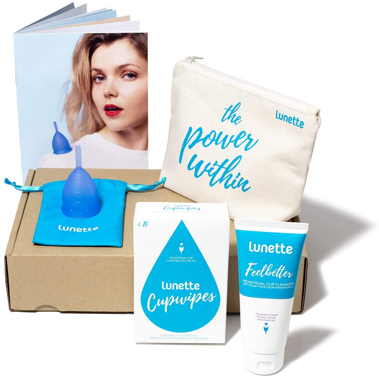 Lunette Menstrual Cup Kit - Blue - Reusable Model 1 Menstrual Cup for Light to Normal Flow + Cleansers