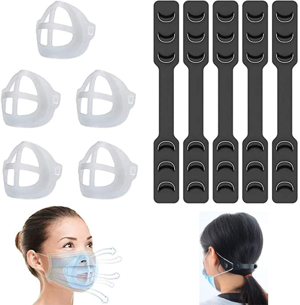 [US DELIVERY] Mask Inner Support Frame+ Mask Extender Strap, 3D Mask Bracket Silicone Mask Support Reusable Lipstick Protection Stand, 5PCS (White, Adults)