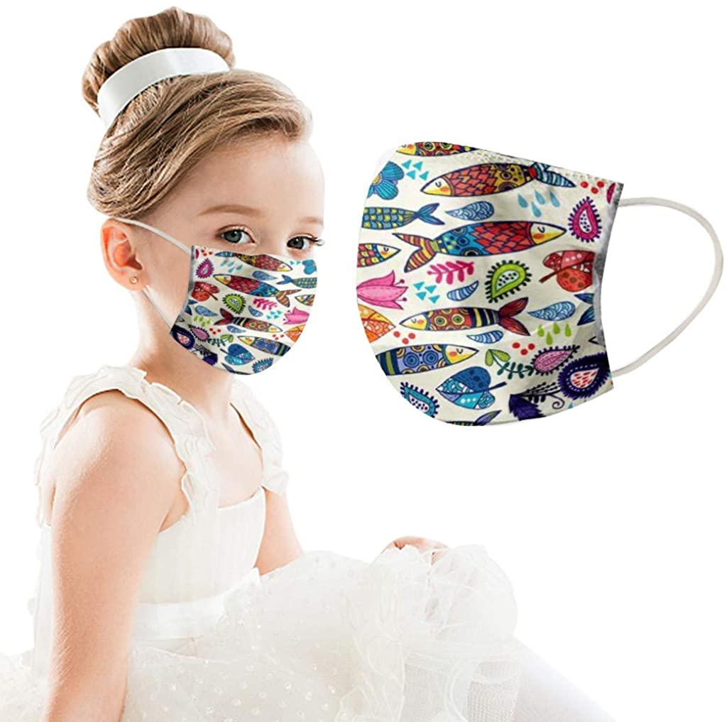 50PC Funny Printed Cloth Face_Mask Kids Reusable Breathable Fashion Washable Cycling Industrial 3Ply Colorful Bandana