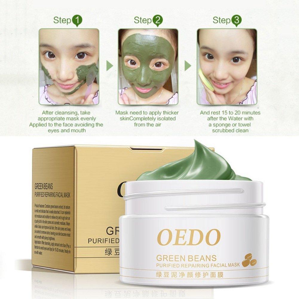 Hanyia Mung Bean Mud Mask Green Beans Purified Repairing Facial Mask Deep Cleansing Anti Acne Blackhead Remover Whitening Masks