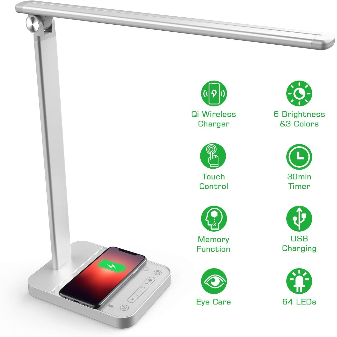 LED Desk Lamp with Wireless Charger, Eye Caring Desk Light Touch Control 6 Brightness & 3 Colors, 30min Timer, Memory Function Table Light for Home Office Work Reading Study, Silver