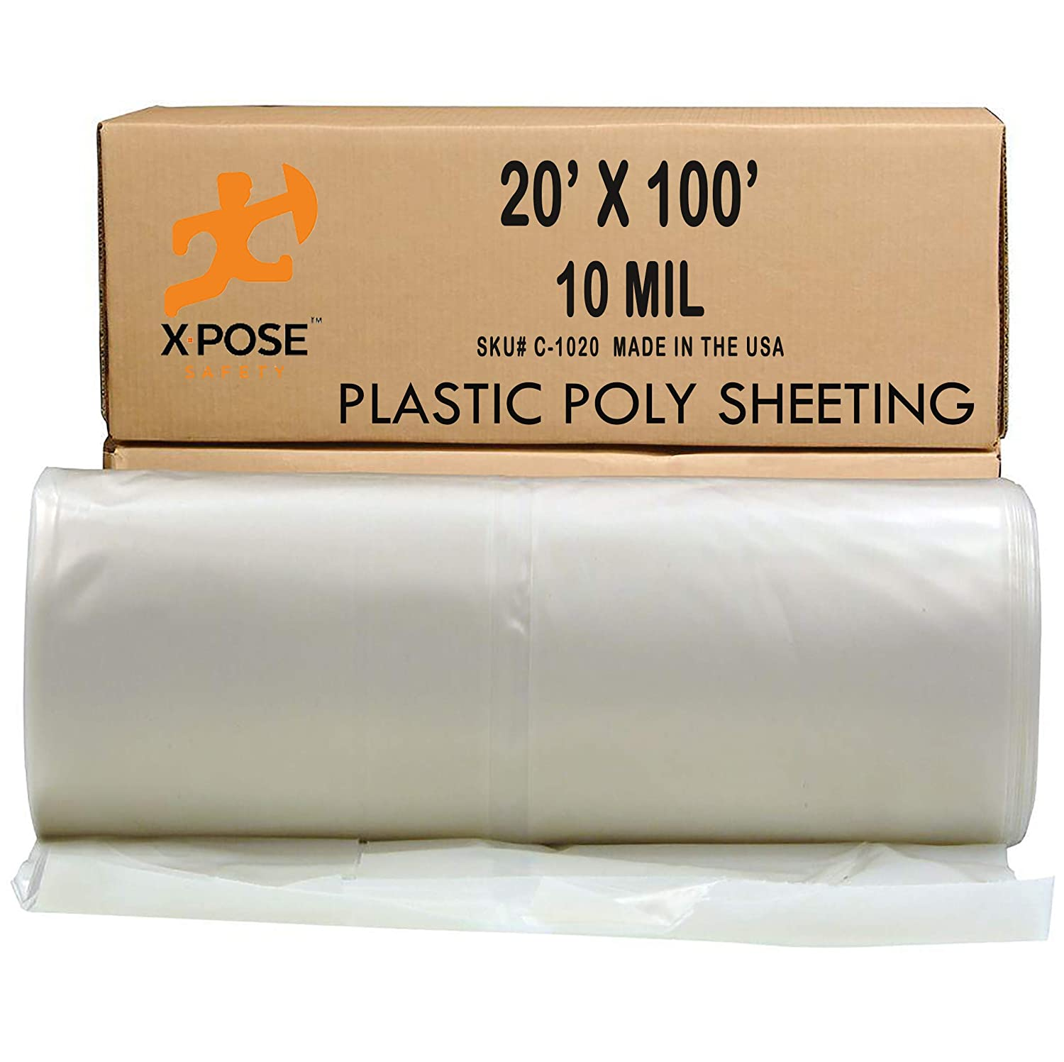 Poly Sheeting - 20x100 Feet – Heavy Duty, 10 Mil Thick Plastic Tarp – Waterproof Vapor and Dust Protective Equipment Cover - Agricultural, Construction and Industrial Use - by Xpose Safety