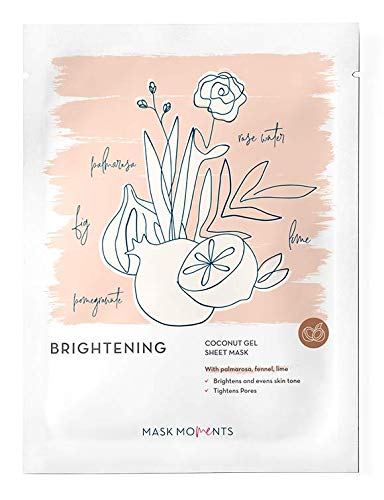Coconut Gel Full Face Sheet Mask Brightening Bio-Cellulose Korean Beauty Tighten Pores Tone Fight Blemishes (1 Pack)