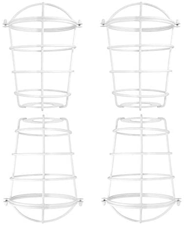 Dysmio Lighting Vintage Lamp Cage, 2-1/4-Inch White Industrial Cage Neckless Metal Shade, for Ceiling Pendant Lights for Dining Room Bedroom - Pack of 4