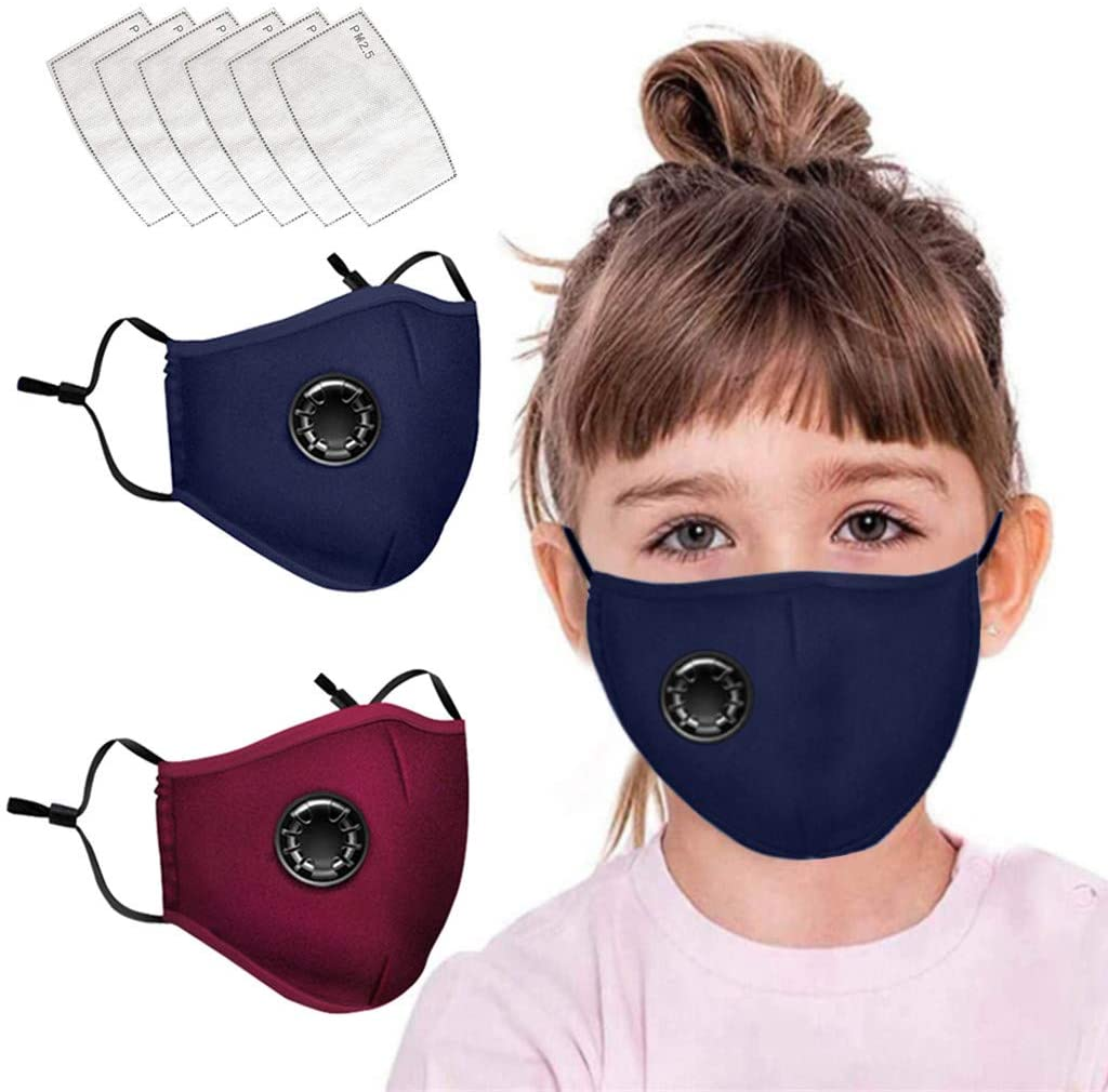 Cotton Face Cover Washable&Reusable Face Shield with Activated Carbon Filter, PM2.5 Windproof Foggy Haze Pollution Respirato Face Cotton Masks for Kids - 2Pcs Masks+6Pcs Activated Carbon Filter