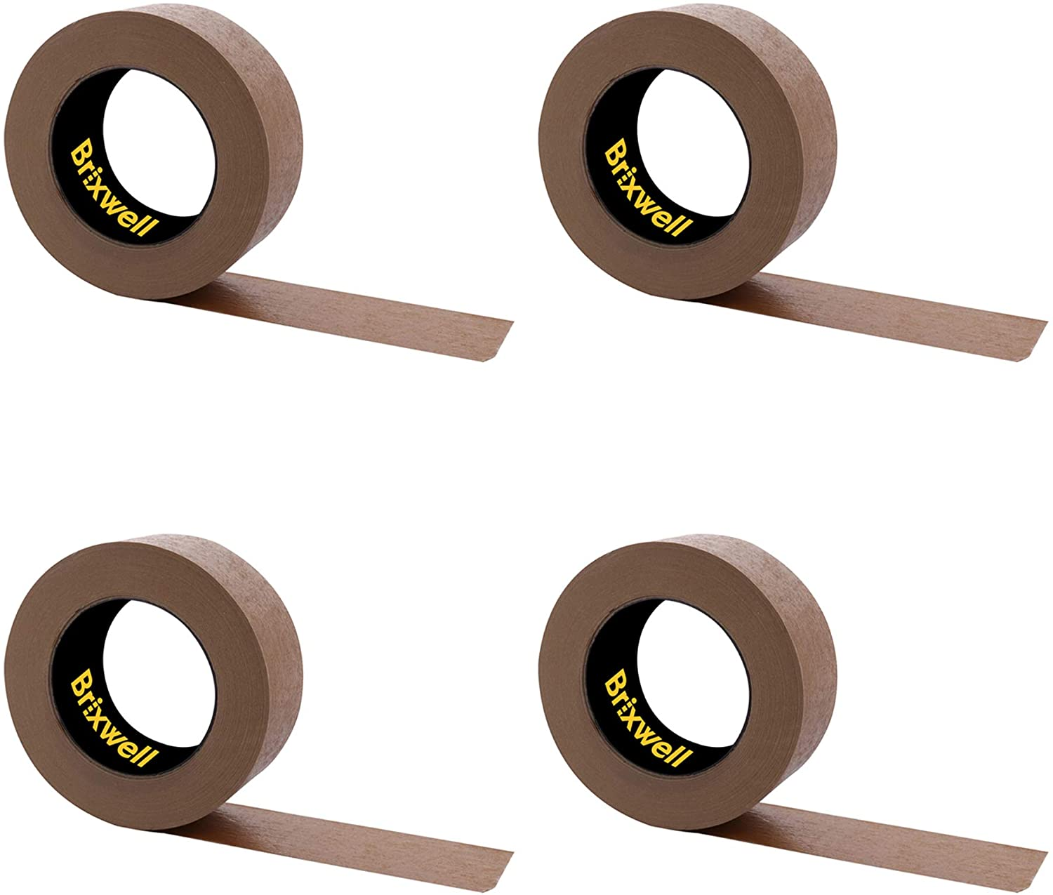 Brixwell 4 Rolls - Flatback Brown Paper Packing Tape 2 Inch x 60 Yard Made in the USA