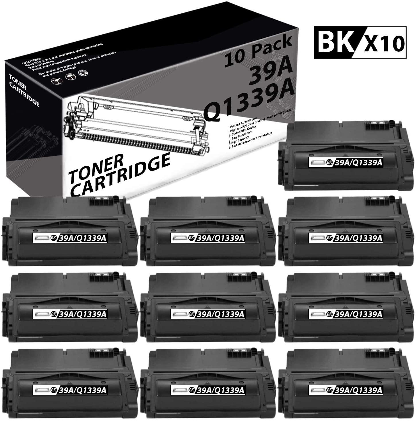 39A | Q1339A(10 Pack-Black) Compatible Toner Cartridge Replacement for HP Laserjet 4300 4300n 4200 4200N 4250 4250n 4350 4350n M4345xs M4345 MFP Laser Printers.
