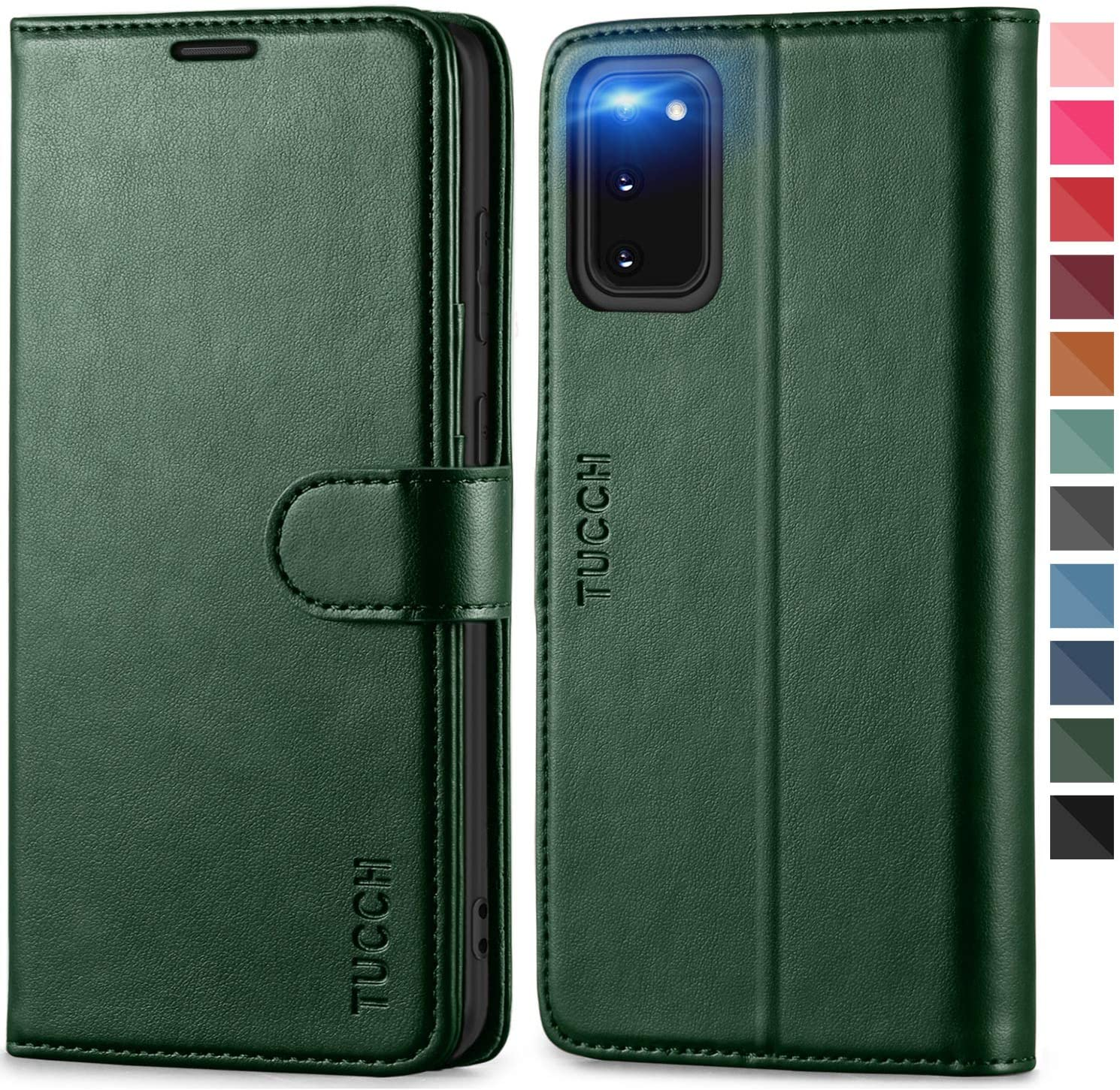 TUCCH Galaxy S20 Wallet Case with [TPU Shockproof Interior Case] Stand Folio RFID Credit Card Holder, Magnetic PU Leather Protective Flip Cover Compatible with Samsung Galaxy S20 6.2 -Midnight Green