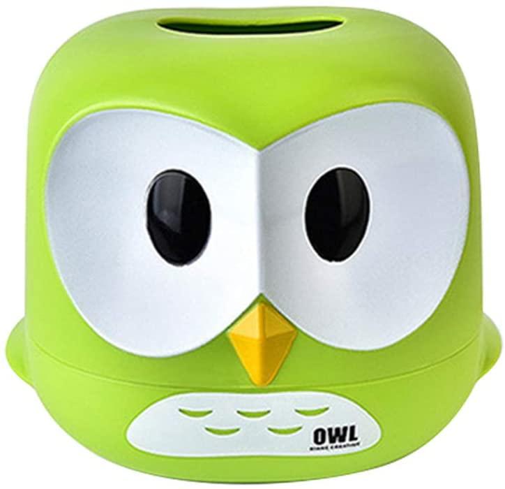 VOSAREA Owl Tissue Holder Tissue Box Cartoon Tissue Cover Paper Storage Box Tissue Paper Container for Car Home Bathroom Green