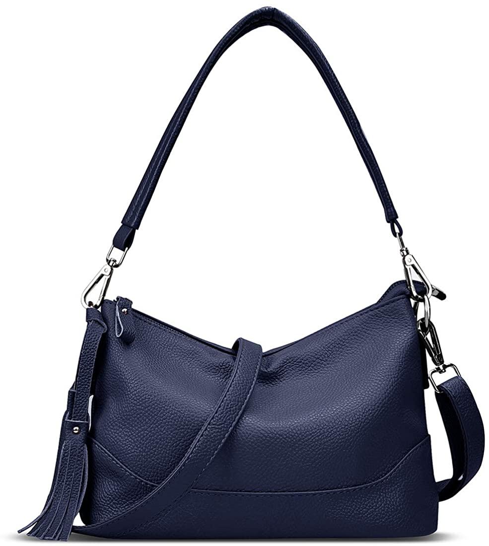 VOLGANIK ROCK Leather Tassel Bucket Crossbody Bag with 2 Straps Women Shoulder Messenger Bag Hobo Purse and Handbag