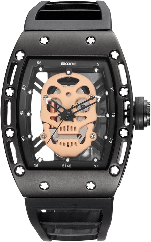 Steampunk Skeleton Pirate Watch Men Skull Hollow Diamond Designer Cool Unique Fashion Style Quartz Wristwatch Silicone Leather Sports