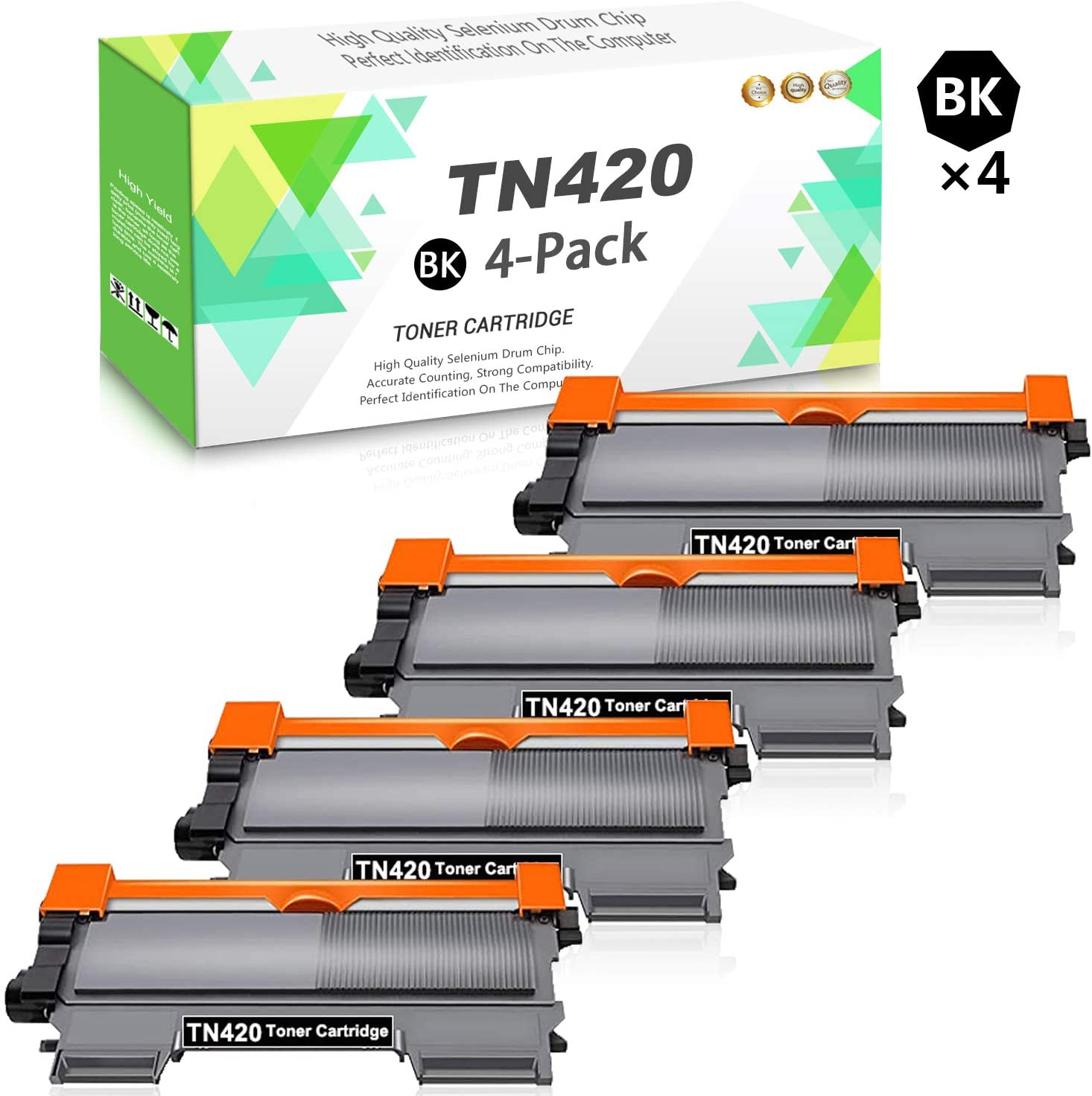 Compatible TN420 Toner Cartridge (Black,4-Pack) Replacement for Brother HL-2130 HL-2132 HL-2220 MFC-7240 MFC-7360N MFC-7365DN DCP-7060D DCP-7065D Intellifax 2840 Series Printer,Sold by TmallToner.