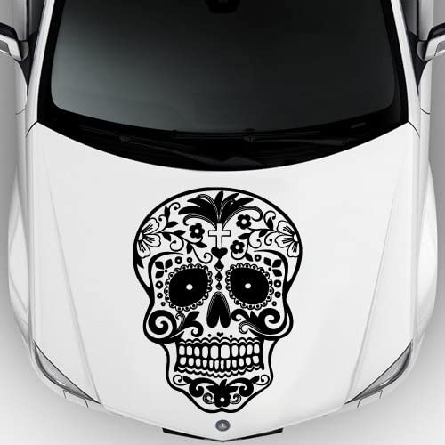 Car Decal Hood Sticker Vinyl Design Crazy Sugar Skull Sticker Graphics Emo Goth Gothic Metal Gift M712c