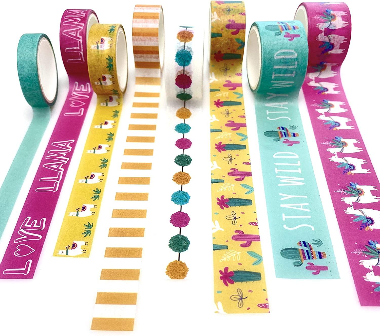 Desecraft 8 Rolls Llama Desert Washi Tape Set, Print Decorative Masking Tapes, Decorative Adhesive Tape, Washi Masking Tape Set for Crafts, Kids, DIY and Scrapbooking, Length 3m/roll
